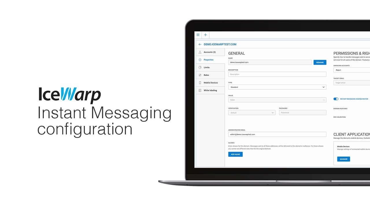 IceWarp Instant Messaging server configuration