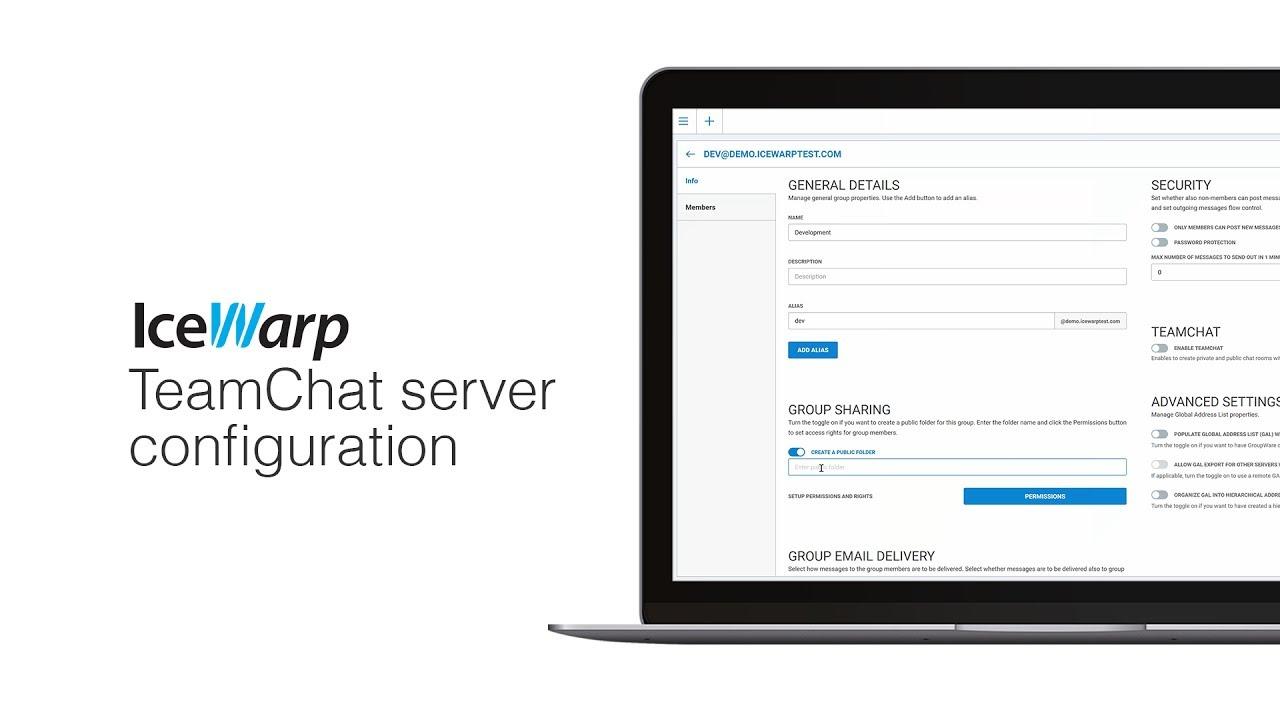 IceWarp TeamChat server configuration