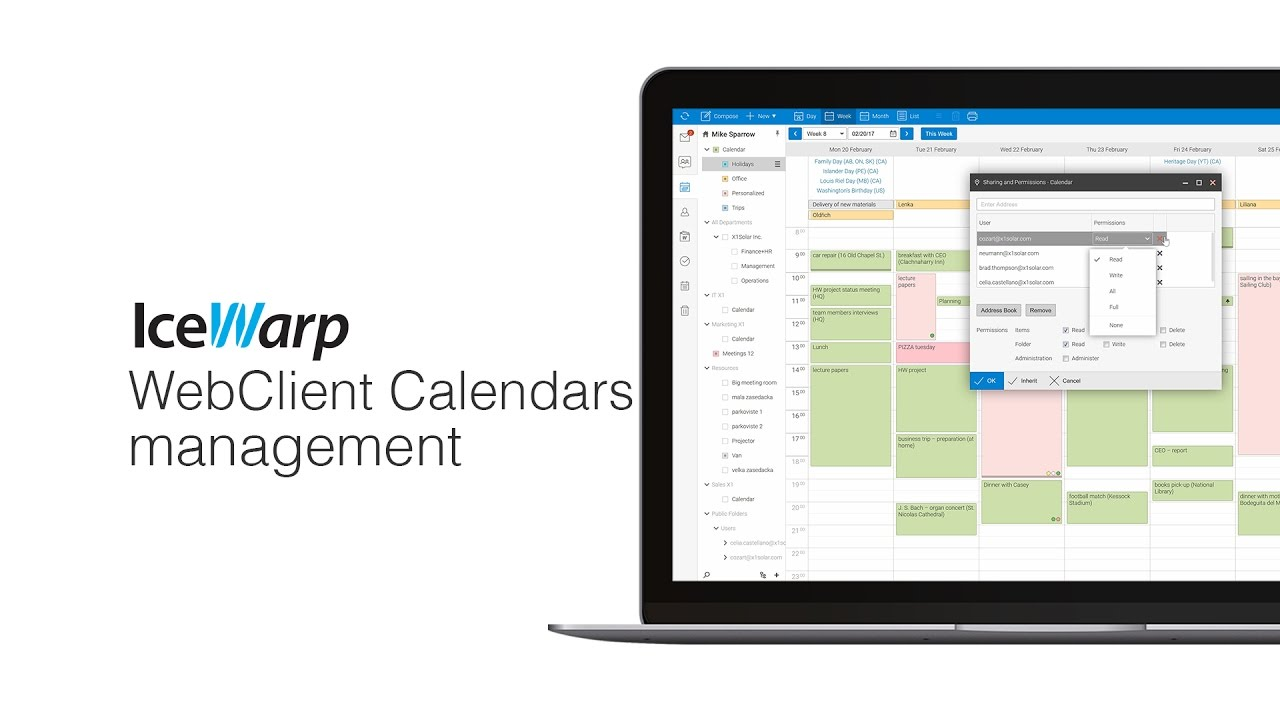 IceWarp WebClient Calendars Management