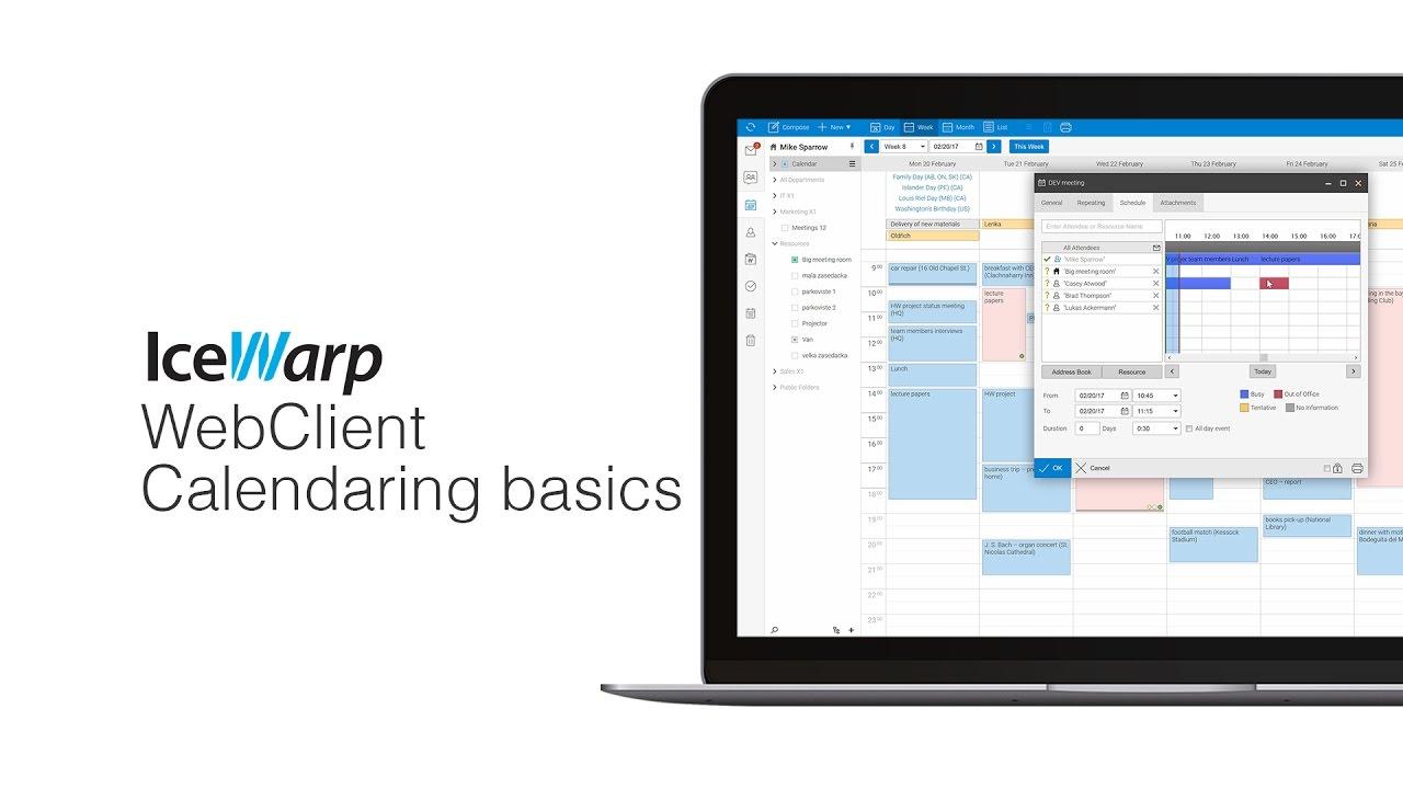 IceWarp WebClient Calendaring Basics